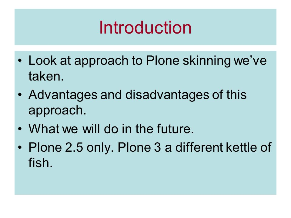 Introduction Look at approach to Plone skinning weve taken.