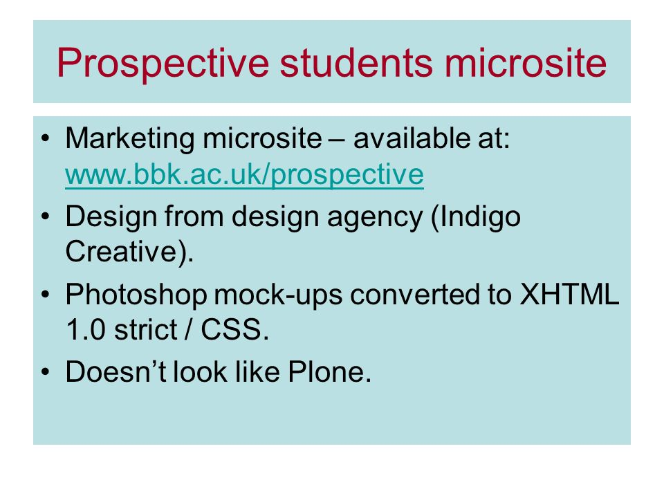 Prospective students microsite Marketing microsite – available at:     Design from design agency (Indigo Creative).