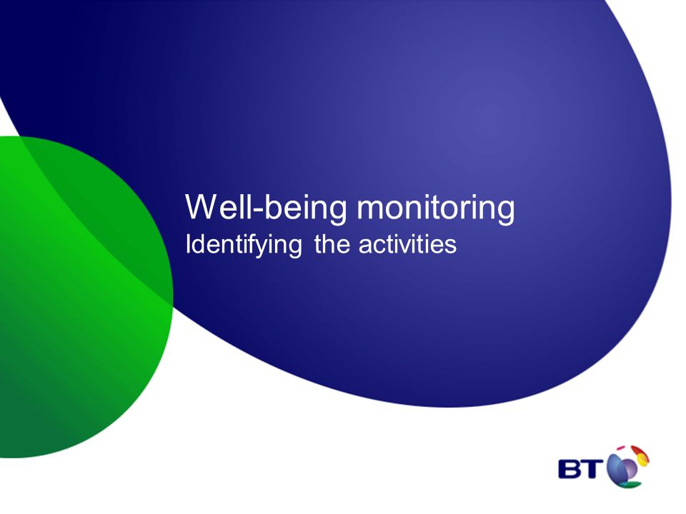 Well-being monitoring Identifying the activities