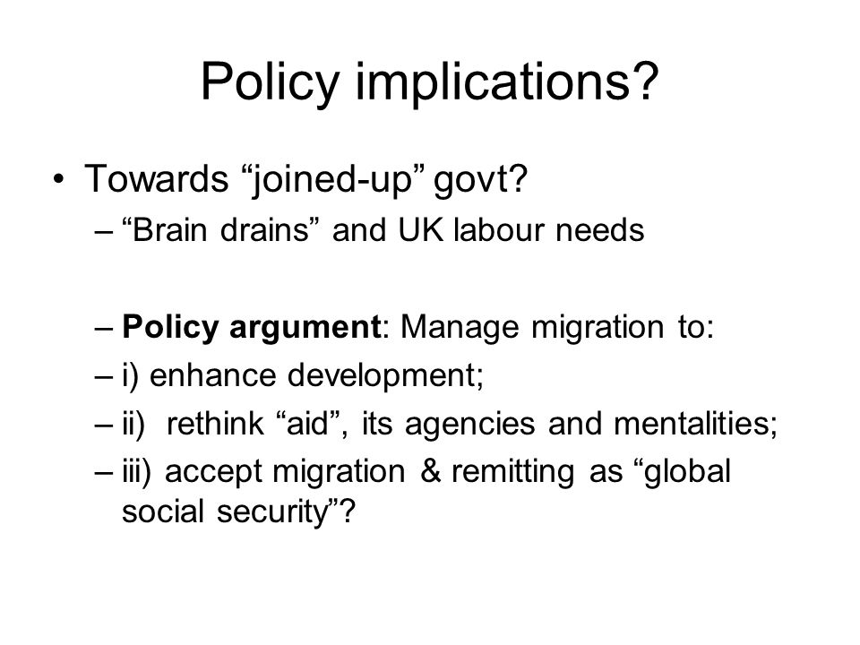 Policy implications. Towards joined-up govt.