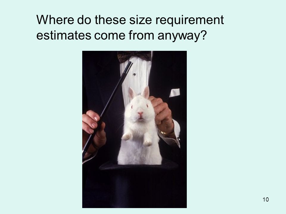10 Where do these size requirement estimates come from anyway?