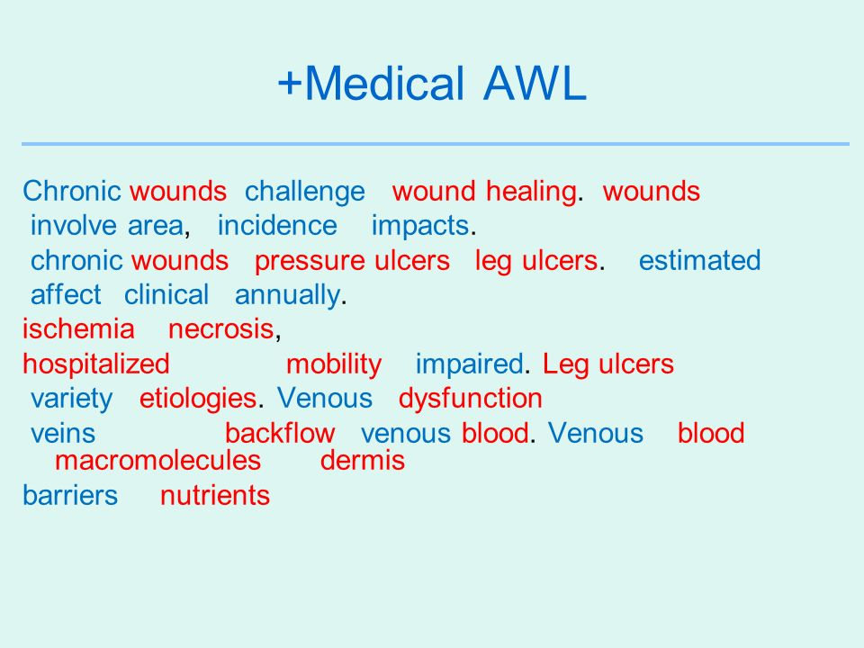 +Medical AWL Chronic wounds challenge wound healing. wounds involve area, incidence impacts. chronic wounds pressure ulcers leg ulcers. estimated affe