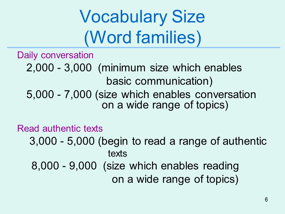 6 Vocabulary Size (Word families) Daily conversation 2,000 - 3,000 (minimum size which enables basic communication) 5,000 - 7,000 (size which enables