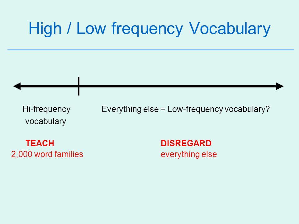 Mid-frequency Vocabulary (Schmitt & Schmitt, 2012) 3,000 3,000 – 9,000 9,000+ Hi-frequency Mid-frequency Low-frequency vocabulary vocabulary vocabulary