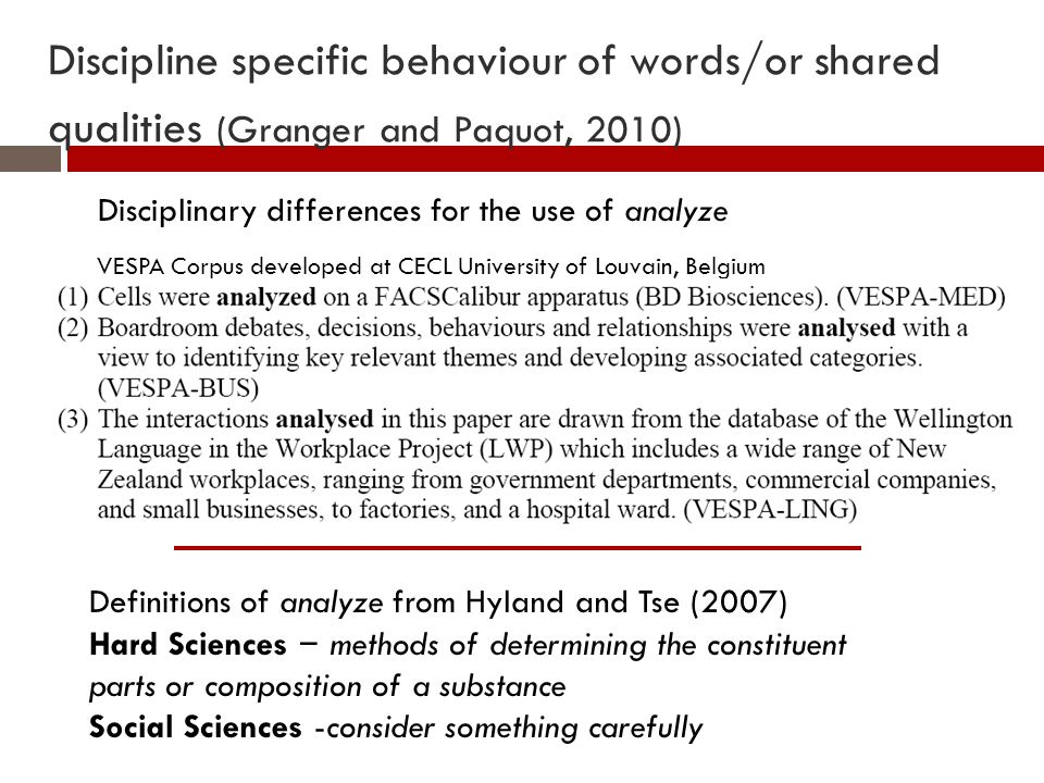 Discipline specific behaviour of words/or shared qualities (Granger and Paquot, 2010) VESPA Corpus developed at CECL University of Louvain, Belgium Disciplinary differences for the use of analyze Definitions of analyze from Hyland and Tse (2007) Hard Sciences – methods of determining the constituent parts or composition of a substance Social Sciences -consider something carefully