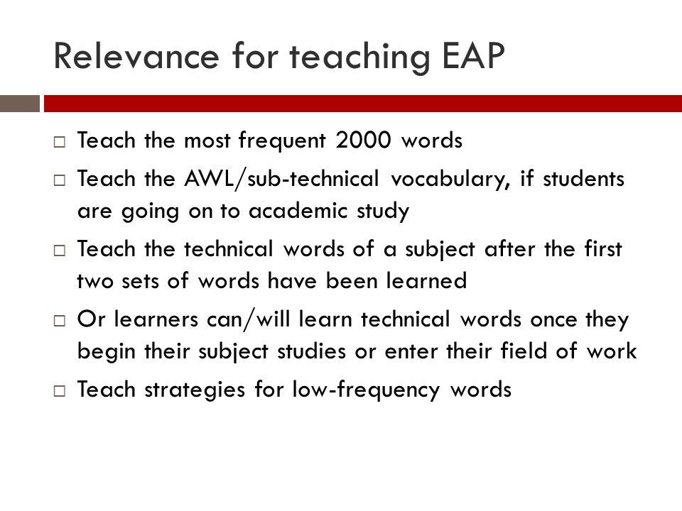 Alternative definitions of academic vocabulary 6.