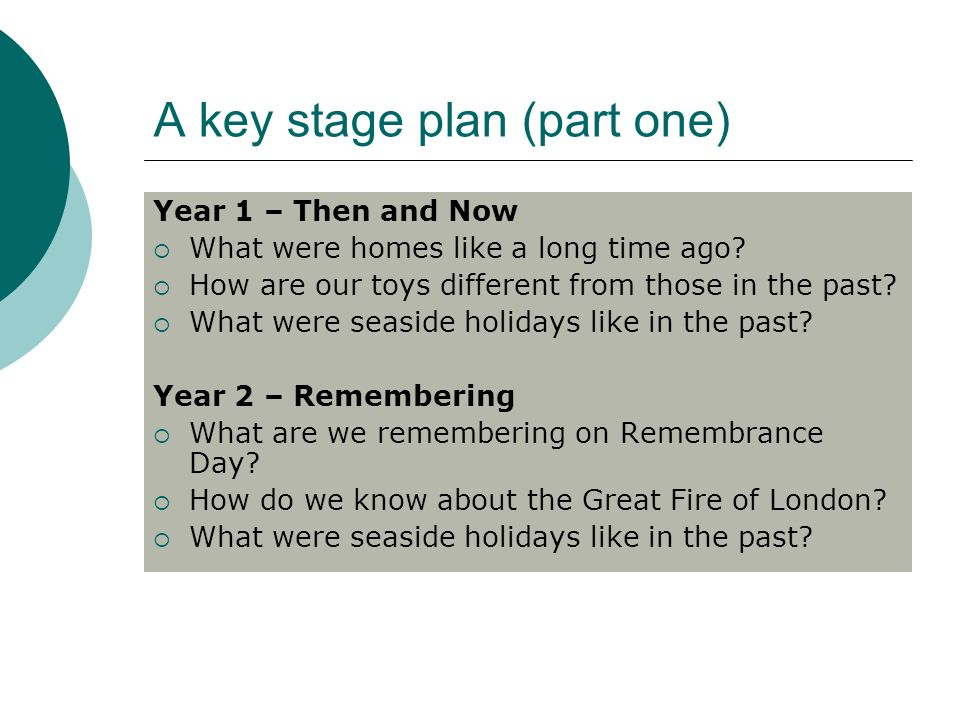 A key stage plan (part one) Year 1 – Then and Now What were homes like a long time ago.