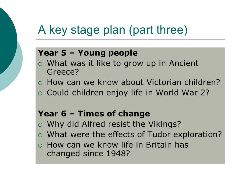 A key stage plan (part three) Year 5 – Young people What was it like to grow up in Ancient Greece.