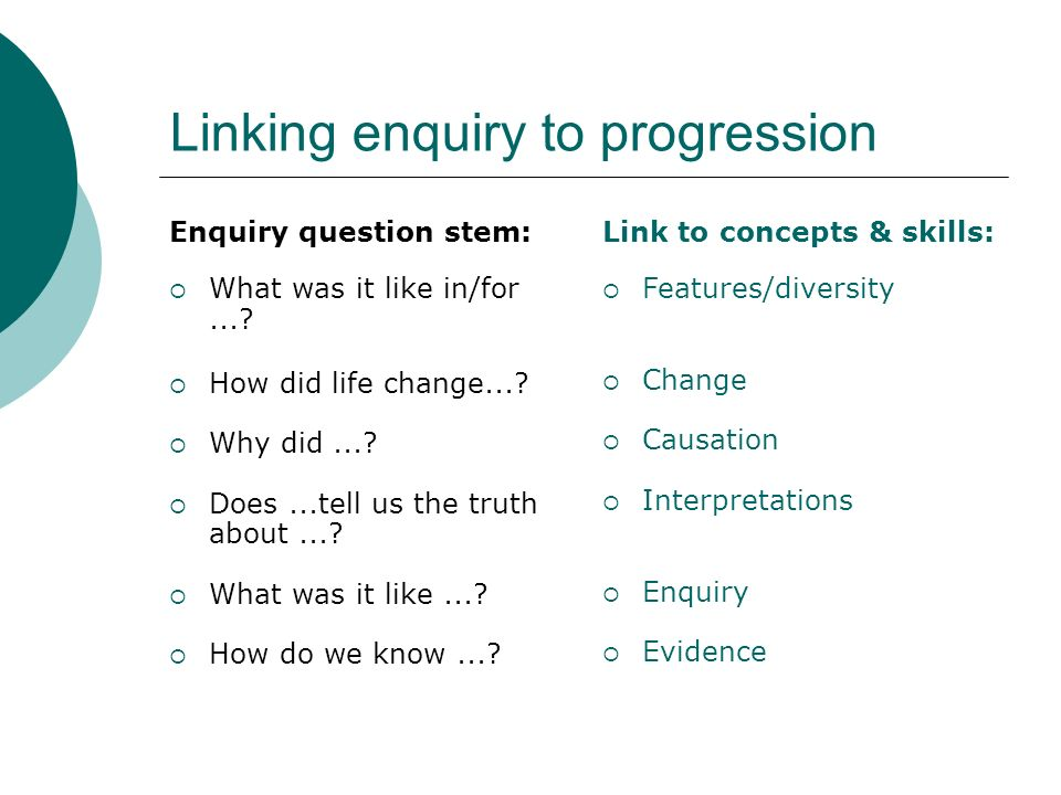 Linking enquiry to progression Enquiry question stem: What was it like in/for....