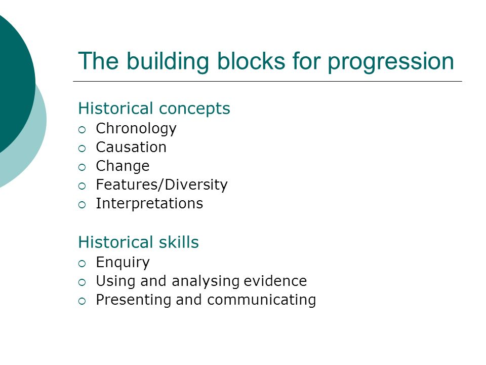 The building blocks for progression Historical concepts Chronology Causation Change Features/Diversity Interpretations Historical skills Enquiry Using and analysing evidence Presenting and communicating