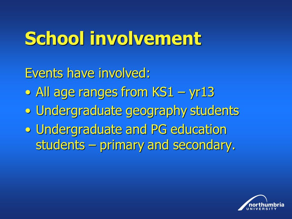 School involvement Events have involved: All age ranges from KS1 – yr13All age ranges from KS1 – yr13 Undergraduate geography studentsUndergraduate geography students Undergraduate and PG education students – primary and secondary.Undergraduate and PG education students – primary and secondary.