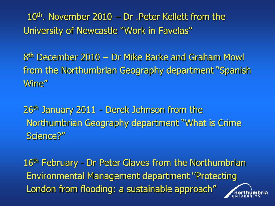 10 th.November 2010 – Dr.Peter Kellett from the 10 th.