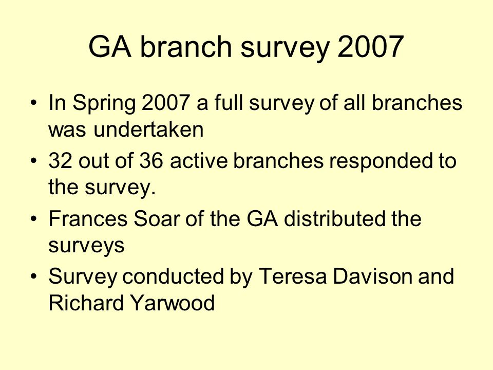 GA branch survey 2007 In Spring 2007 a full survey of all branches was undertaken 32 out of 36 active branches responded to the survey.
