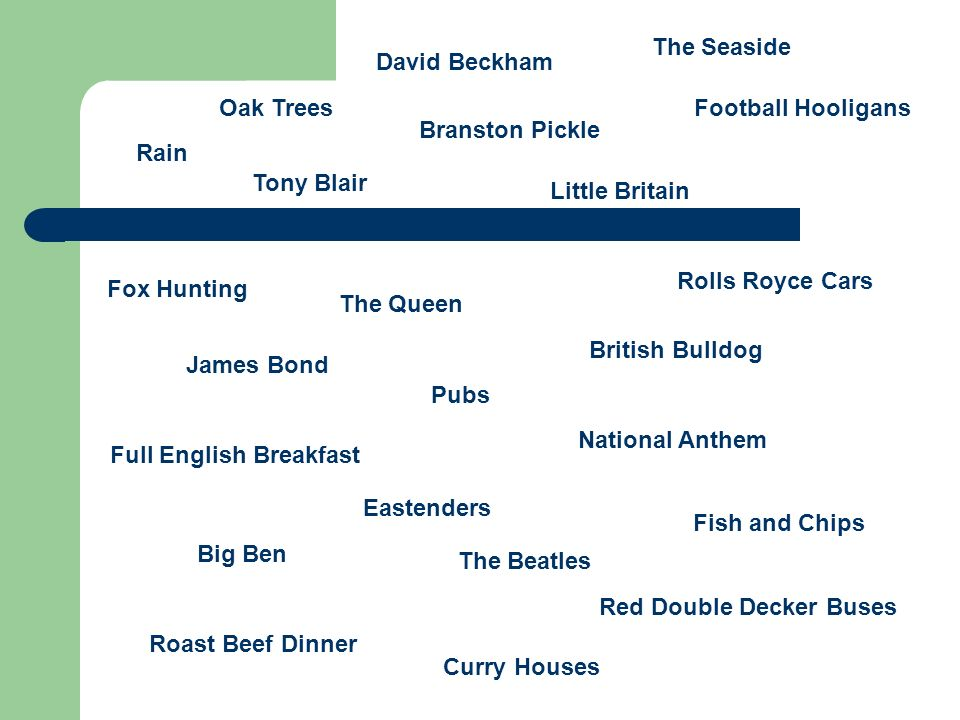 The Queen David Beckham Pubs British Bulldog Rain Big Ben Football Hooligans Full English Breakfast Rolls Royce Cars Roast Beef Dinner Eastenders Red