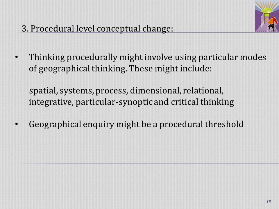 Thinking procedurally might involve using particular modes of geographical thinking.