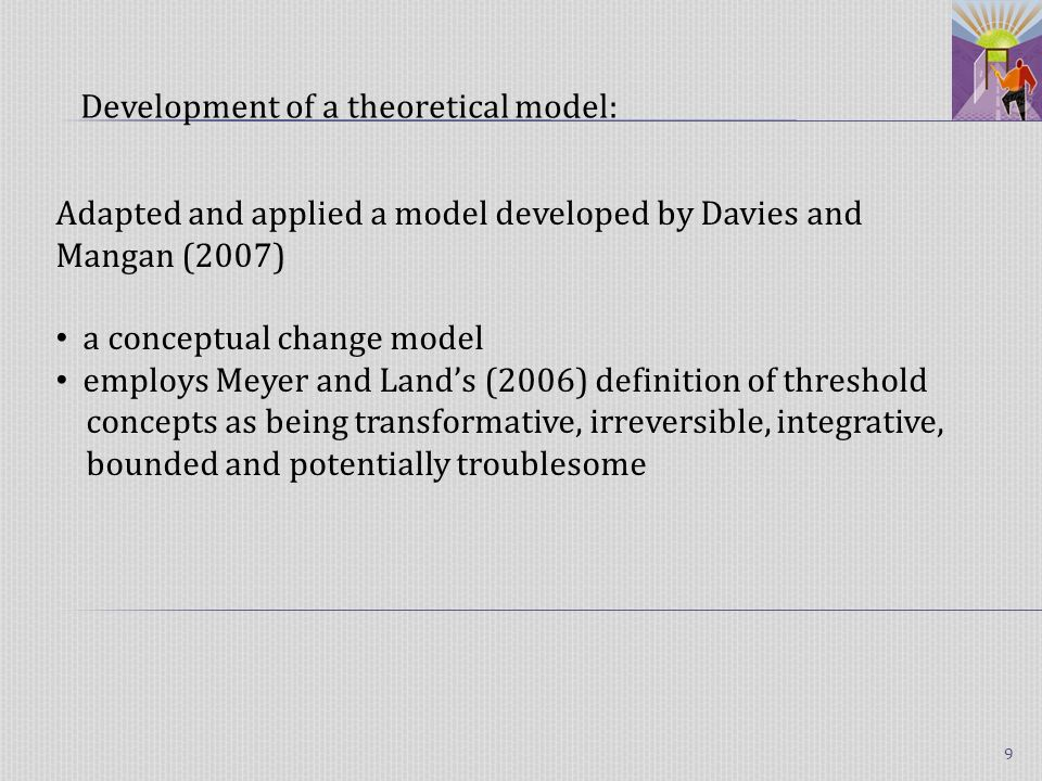 Adapted and applied a model developed by Davies and Mangan (2007) a conceptual change model employs Meyer and Lands (2006) definition of threshold concepts as being transformative, irreversible, integrative, bounded and potentially troublesome Development of a theoretical model: 9