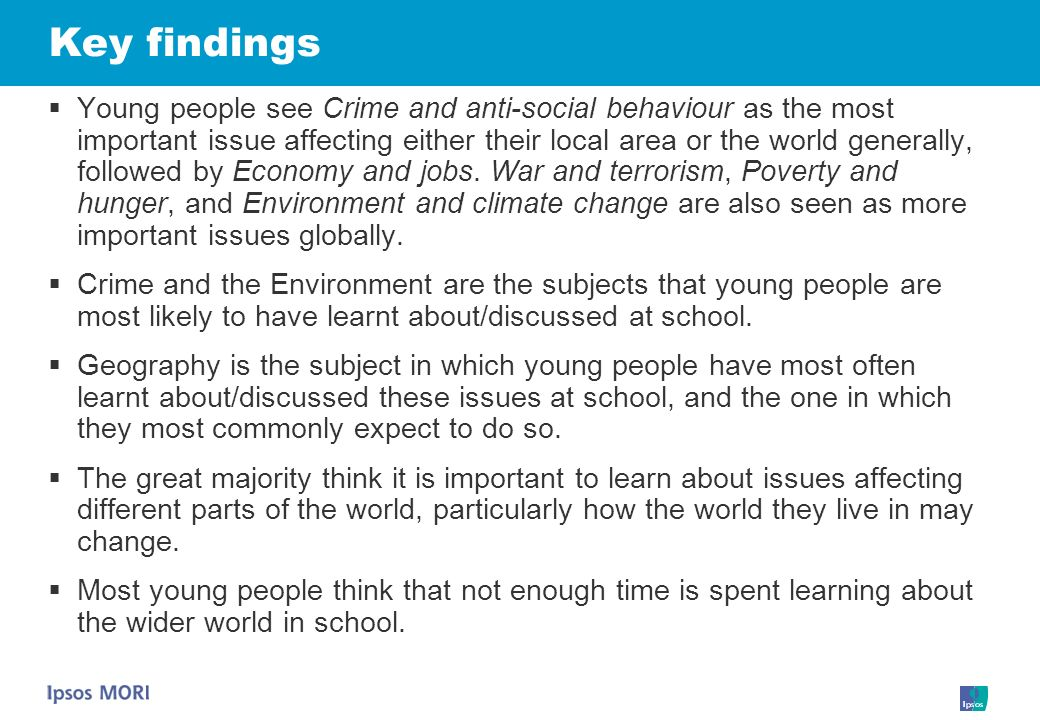 Young people see Crime and anti-social behaviour as the most important issue affecting either their local area or the world generally, followed by Economy and jobs.