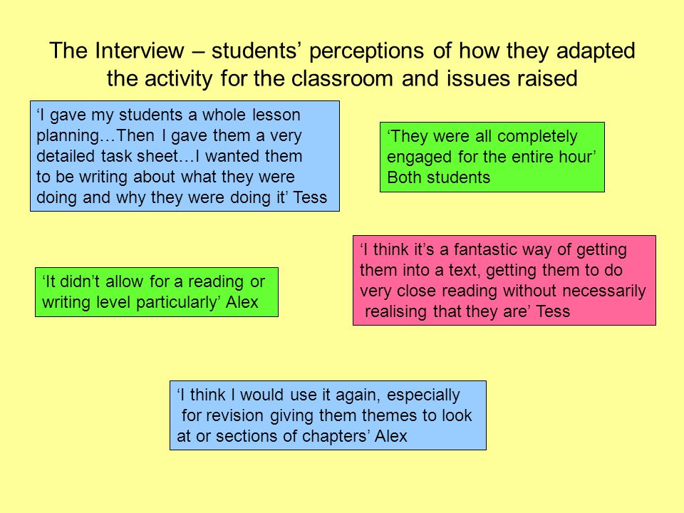The Interview – students perceptions of how they adapted the activity for the classroom and issues raised I gave my students a whole lesson planning…Then I gave them a very detailed task sheet…I wanted them to be writing about what they were doing and why they were doing it Tess They were all completely engaged for the entire hour Both students I think its a fantastic way of getting them into a text, getting them to do very close reading without necessarily realising that they are Tess I think I would use it again, especially for revision giving them themes to look at or sections of chapters Alex It didnt allow for a reading or writing level particularly Alex