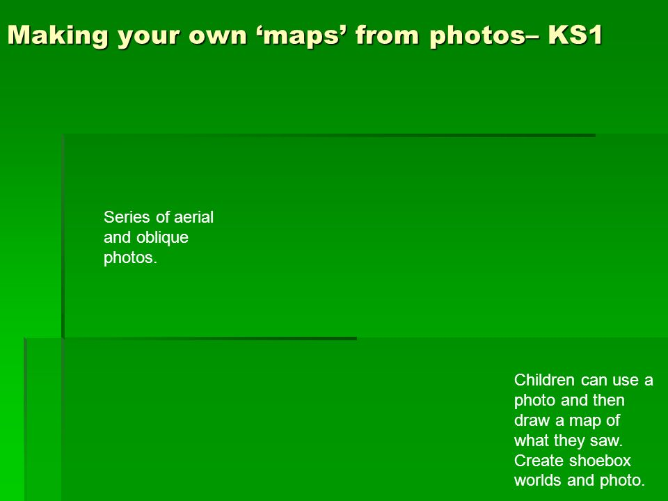 Making your own maps from photos– KS1 Children can use a photo and then draw a map of what they saw. Create shoebox worlds and photo. Series of aerial