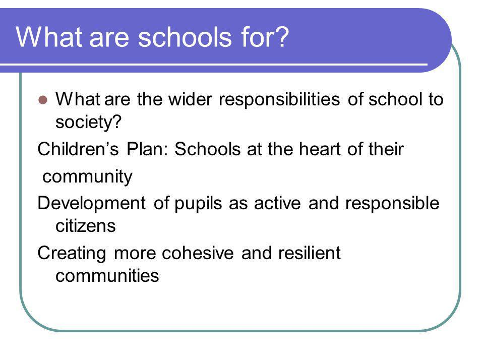 What are schools for. What are the wider responsibilities of school to society.
