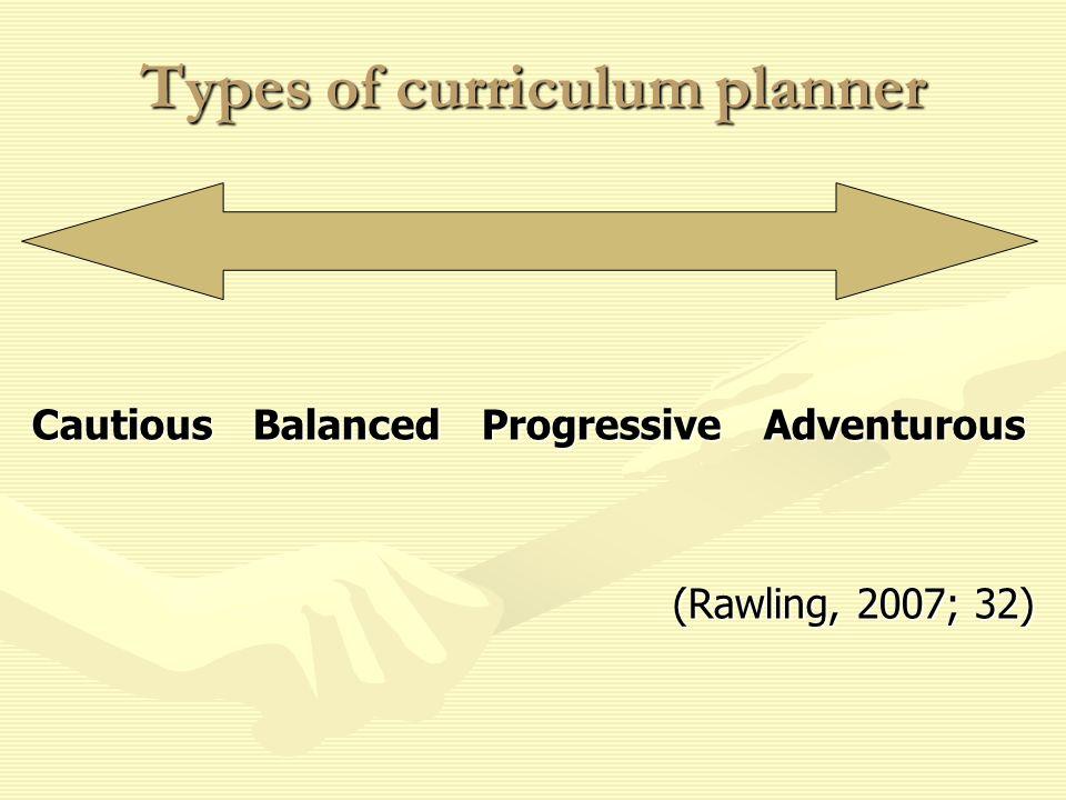 Types of curriculum planner Cautious Balanced Progressive Adventurous (Rawling, 2007; 32)