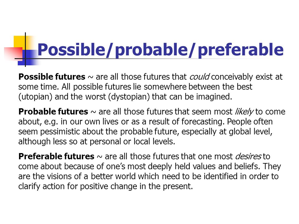 Possible/probable/preferable Possible futures ~ are all those futures that could conceivably exist at some time. All possible futures lie somewhere be