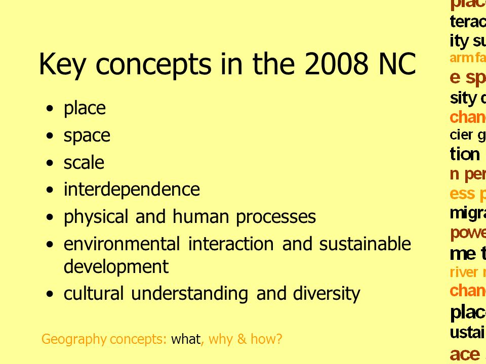 Key concepts in the 2008 NC place space scale interdependence physical and human processes environmental interaction and sustainable development cultu