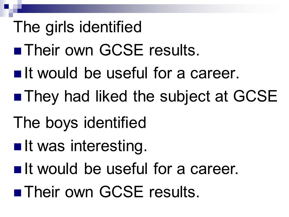 The girls identified Their own GCSE results. It would be useful for a career.