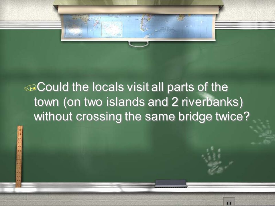 / Could the locals visit all parts of the town (on two islands and 2 riverbanks) without crossing the same bridge twice?