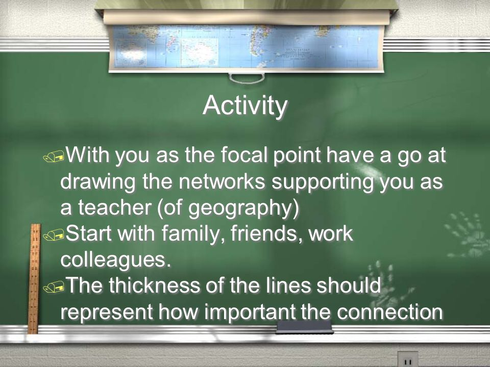 Activity / With you as the focal point have a go at drawing the networks supporting you as a teacher (of geography) / Start with family, friends, work colleagues.