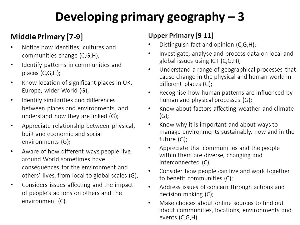 Developing primary geography – 3 Middle Primary [7-9] Notice how identities, cultures and communities change (C,G,H); Identify patterns in communities