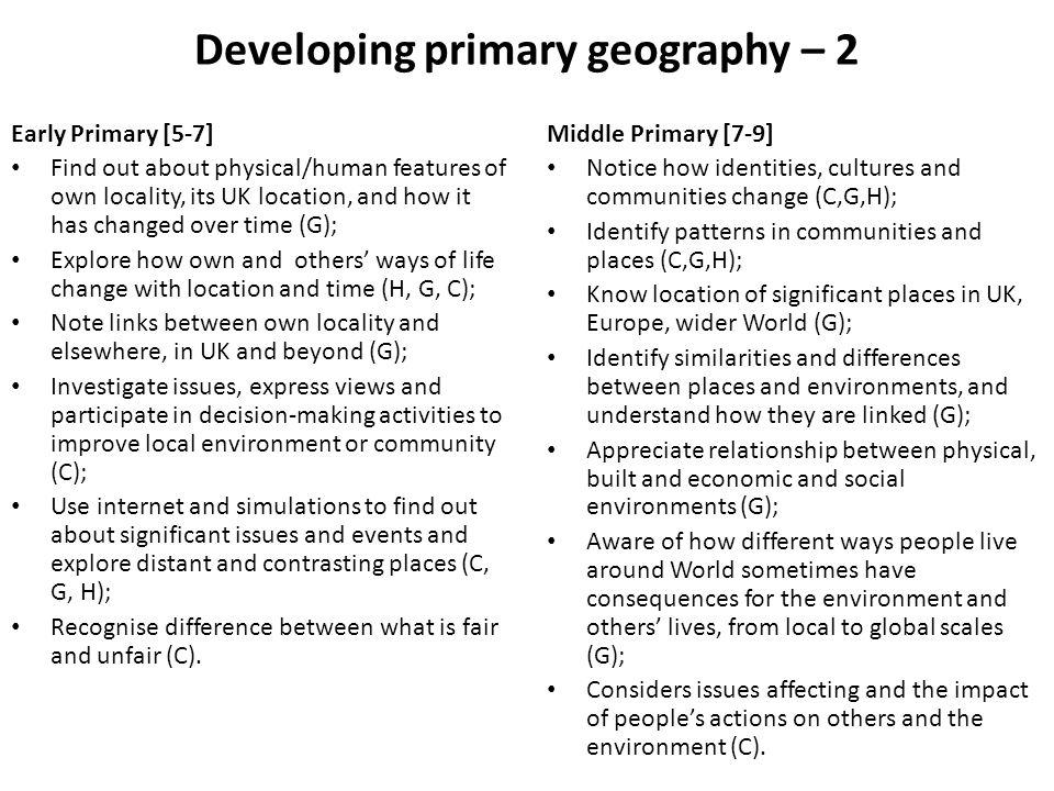 Developing primary geography – 2 Early Primary [5-7] Find out about physical/human features of own locality, its UK location, and how it has changed o