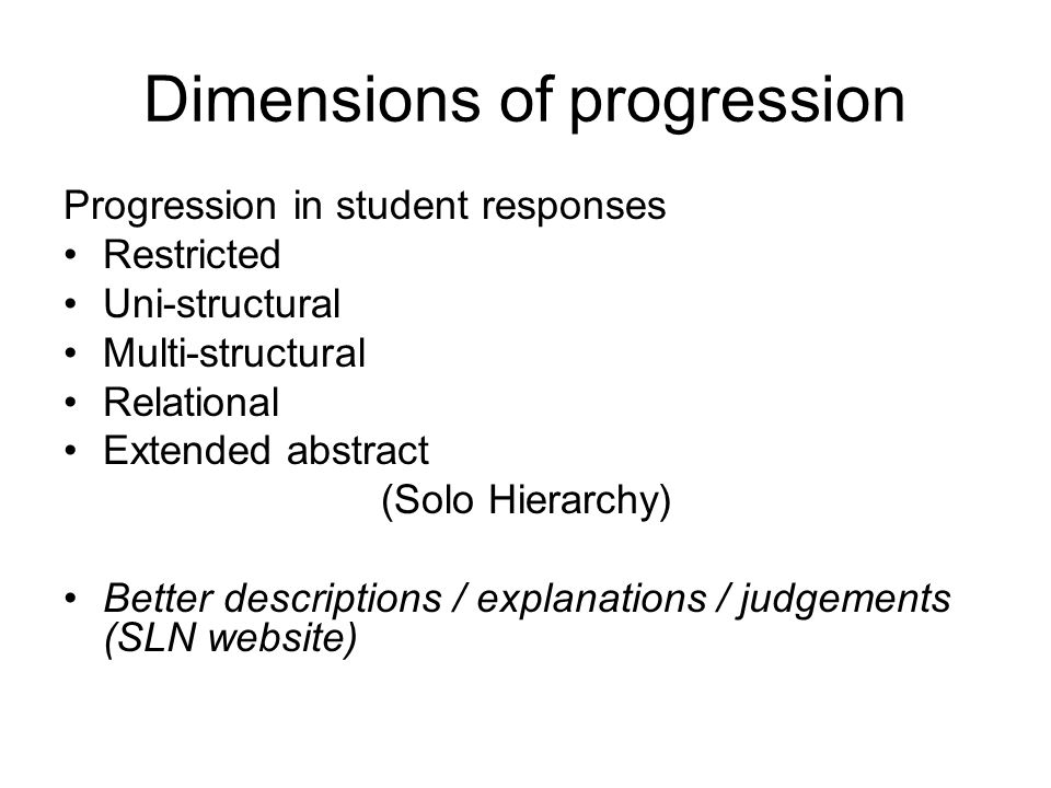 Dimensions of progression Progression in student responses Restricted Uni-structural Multi-structural Relational Extended abstract (Solo Hierarchy) Be