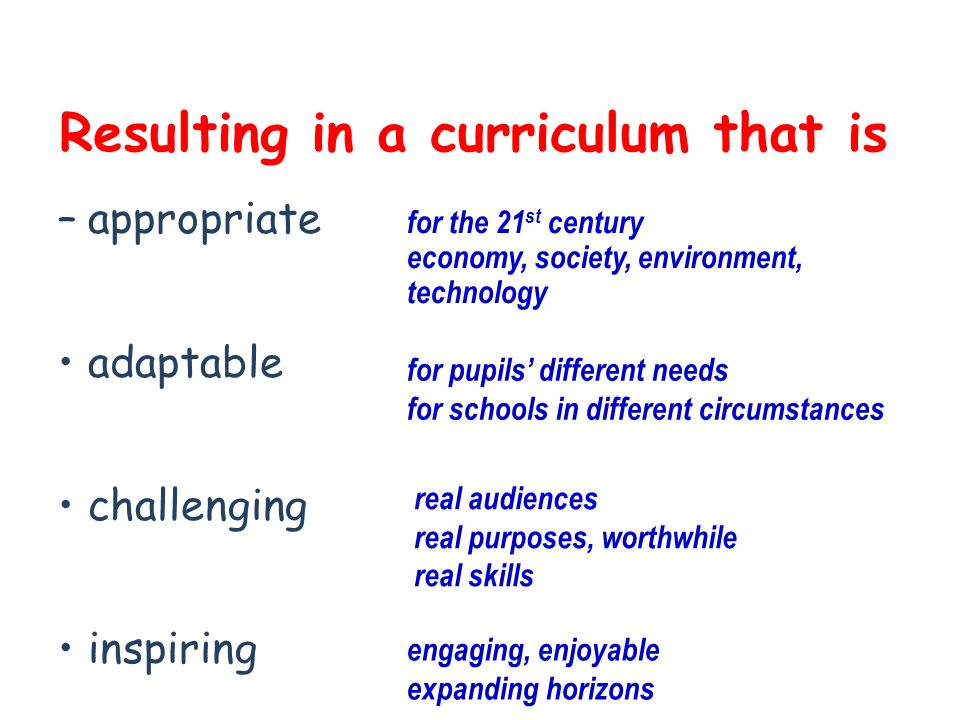 Resulting in a curriculum that is –appropriate adaptable challenging inspiring for the 21 st century economy, society, environment, technology for pupils different needs for schools in different circumstances real audiences real purposes, worthwhile real skills engaging, enjoyable expanding horizons