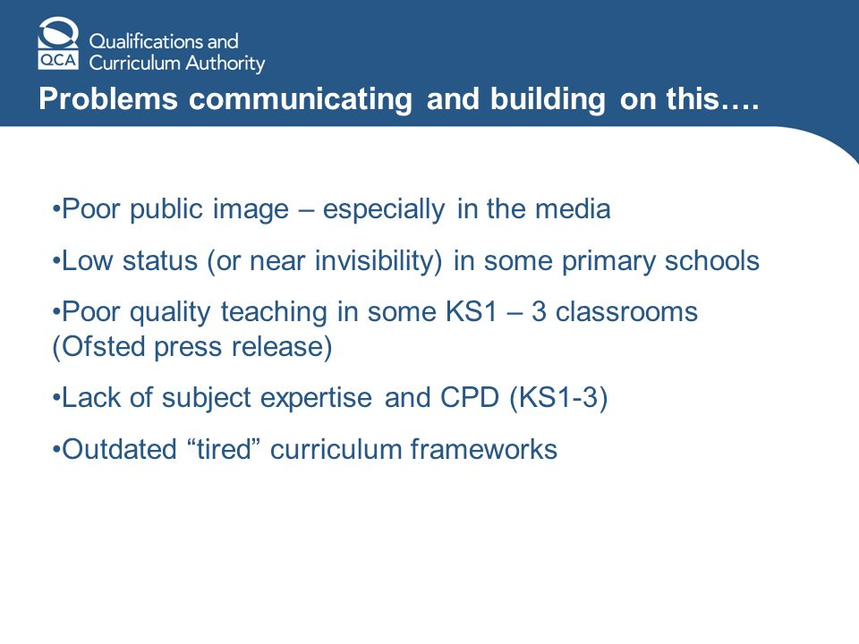 Problems communicating and building on this…. Poor public image – especially in the media Low status (or near invisibility) in some primary schools Po