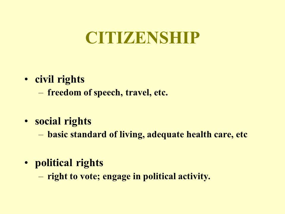 CITIZENSHIP civil rights –freedom of speech, travel, etc.