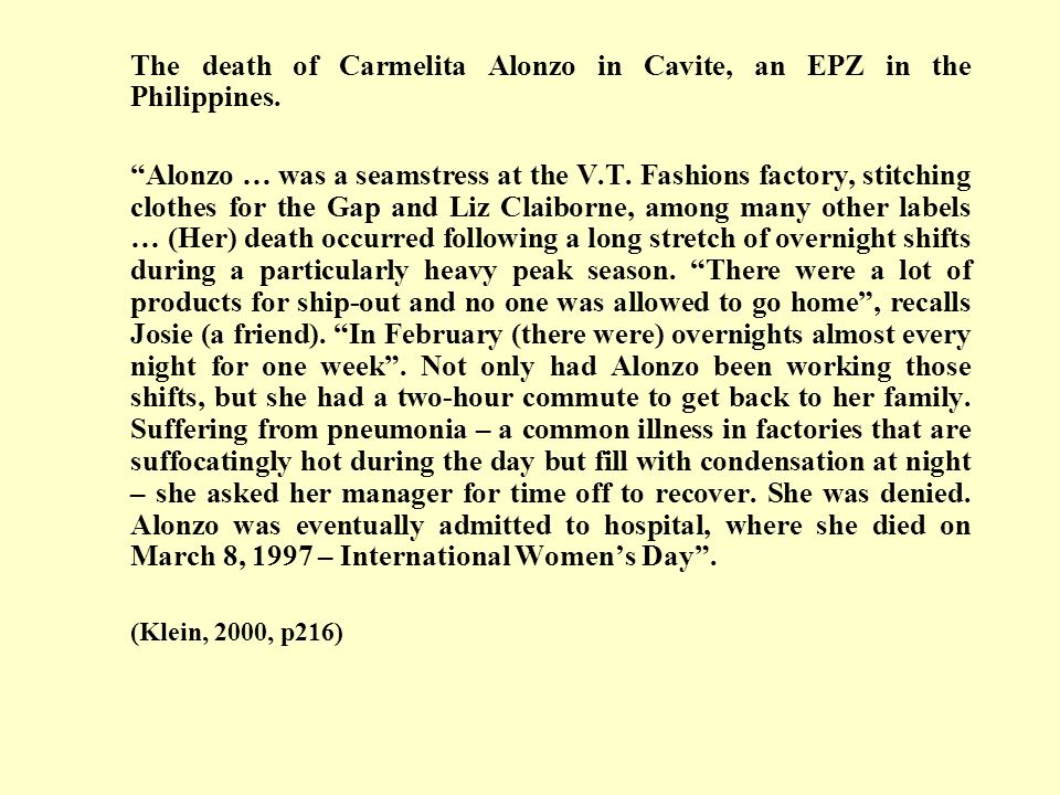 The death of Carmelita Alonzo in Cavite, an EPZ in the Philippines.