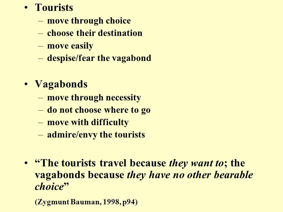 Tourists –move through choice –choose their destination –move easily –despise/fear the vagabond Vagabonds –move through necessity –do not choose where