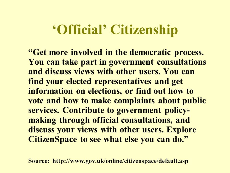 Official Citizenship Get more involved in the democratic process.