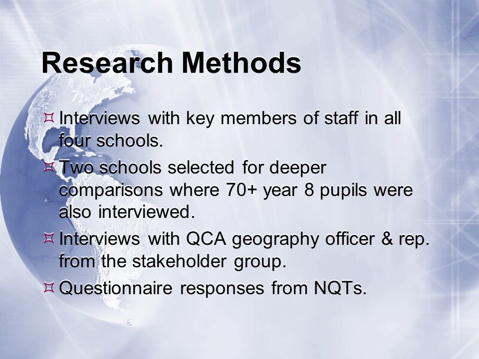 Literature Theoretical underpinning of the research: - discussion on theories of learning relating to curriculum construction in general & the geography curriculum in particular; - overview of the context of learning through school geography in the recent past & in the future in the light of the new KS3 curriculum.