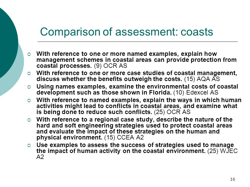 16 Comparison of assessment: coasts With reference to one or more named examples, explain how management schemes in coastal areas can provide protection from coastal processes.