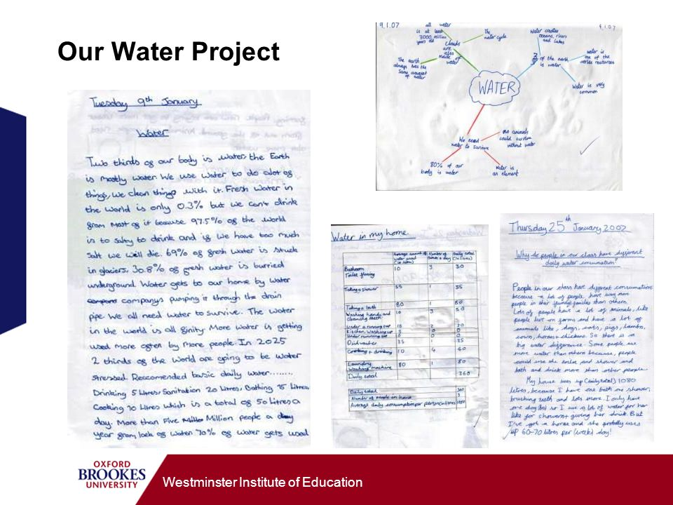 Westminster Institute of Education Our Water Project