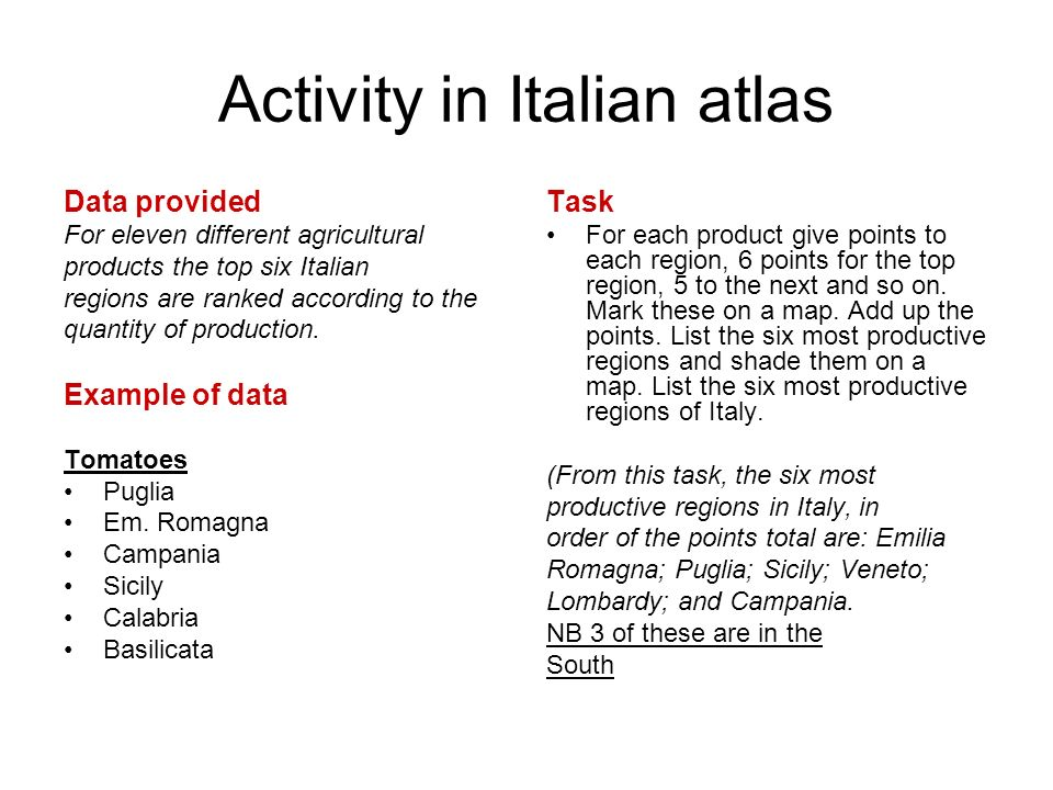 Activity in Italian atlas Data provided For eleven different agricultural products the top six Italian regions are ranked according to the quantity of production.
