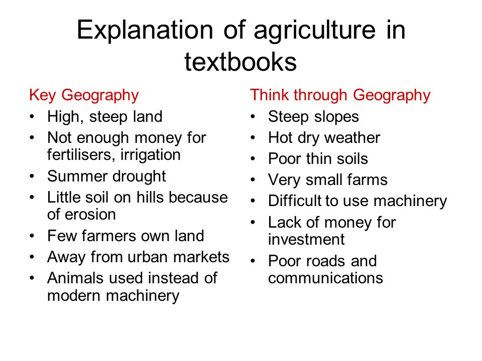 Explanation of agriculture in textbooks Key Geography High, steep land Not enough money for fertilisers, irrigation Summer drought Little soil on hill
