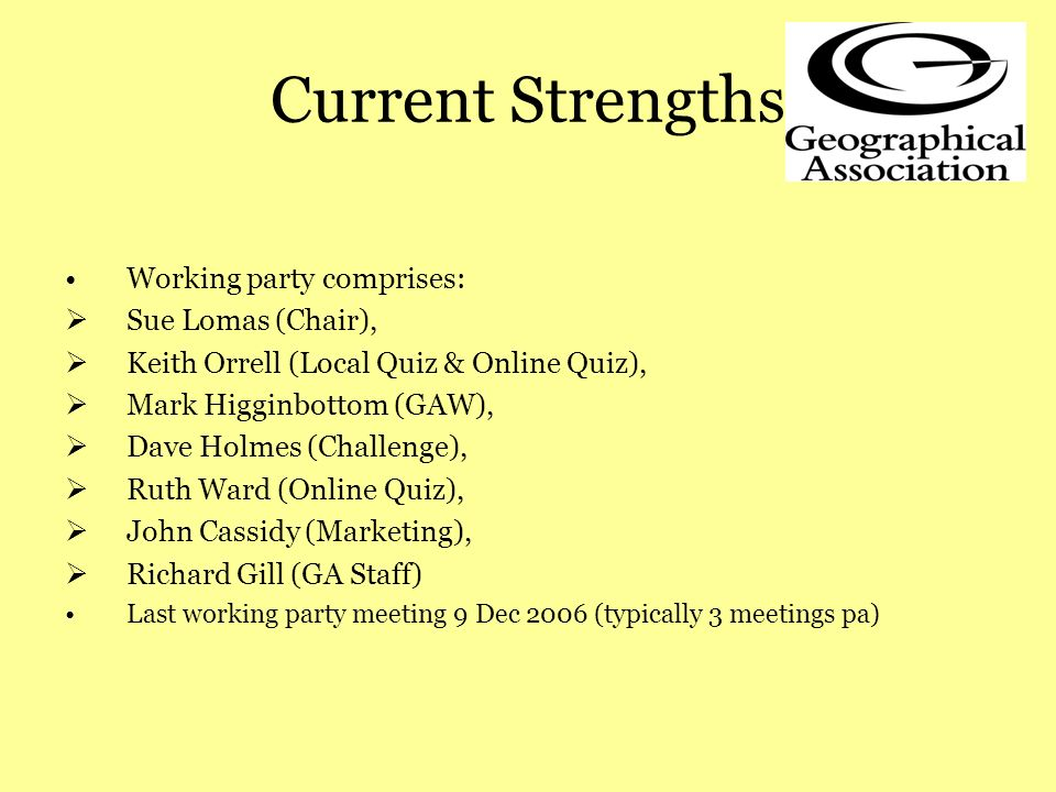 Current Strengths Working party comprises: Sue Lomas (Chair), Keith Orrell (Local Quiz & Online Quiz), Mark Higginbottom (GAW), Dave Holmes (Challenge), Ruth Ward (Online Quiz), John Cassidy (Marketing), Richard Gill (GA Staff) Last working party meeting 9 Dec 2006 (typically 3 meetings pa)