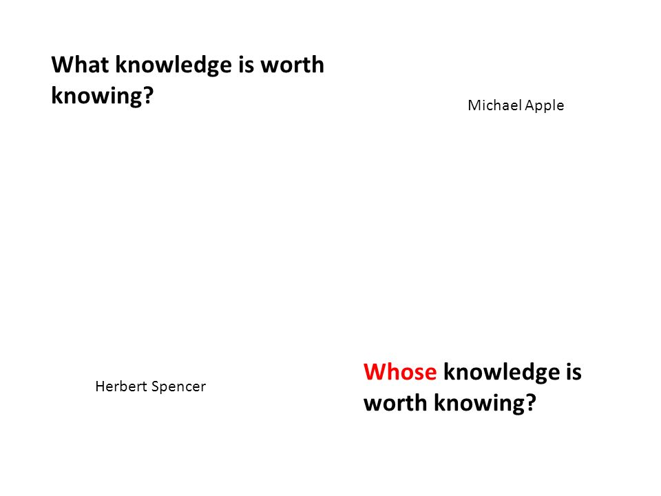 What knowledge is worth knowing? Whose knowledge is worth knowing? Herbert Spencer Michael Apple