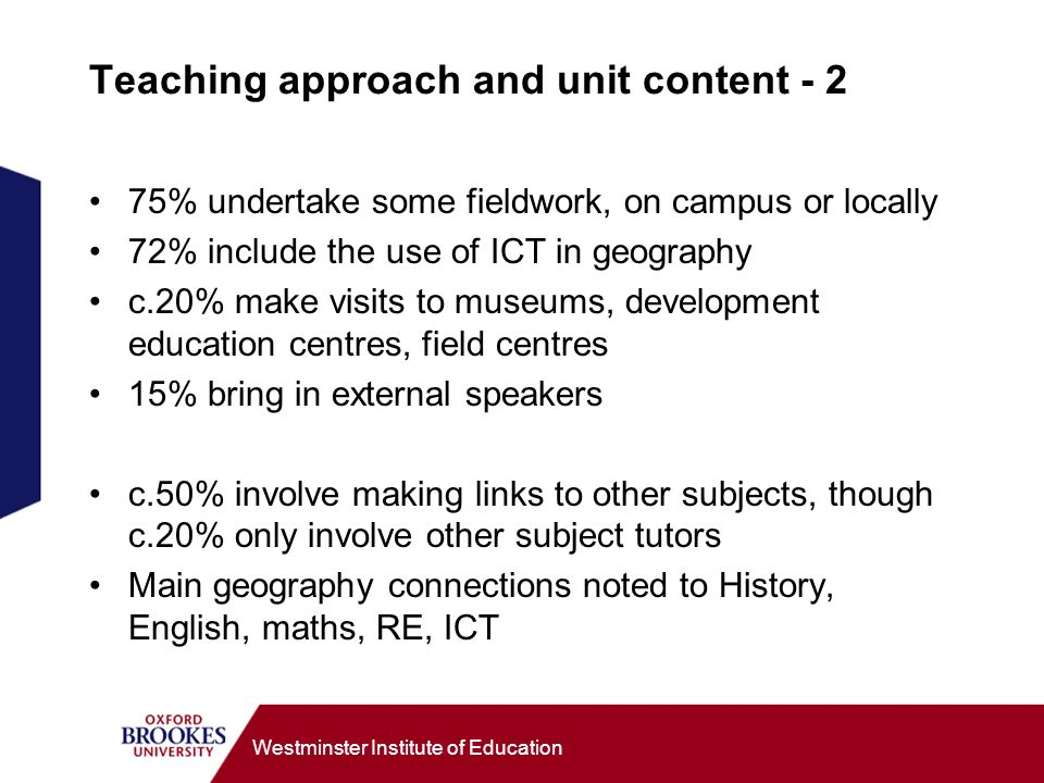Westminster Institute of Education Teaching approach and unit content % undertake some fieldwork, on campus or locally 72% include the use of ICT in geography c.20% make visits to museums, development education centres, field centres 15% bring in external speakers c.50% involve making links to other subjects, though c.20% only involve other subject tutors Main geography connections noted to History, English, maths, RE, ICT