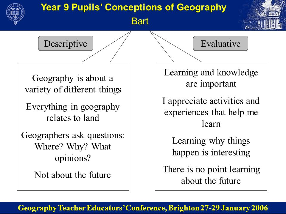 Year 9 Pupils Conceptions of Geography Bart Descriptive Geography Teacher Educators Conference, Brighton 27-29 January 2006 Evaluative Geography is ab