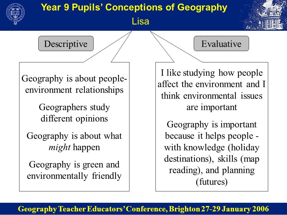 Year 9 Pupils Conceptions of Geography Lisa Descriptive Geography Teacher Educators Conference, Brighton 27-29 January 2006 Evaluative Geography is ab