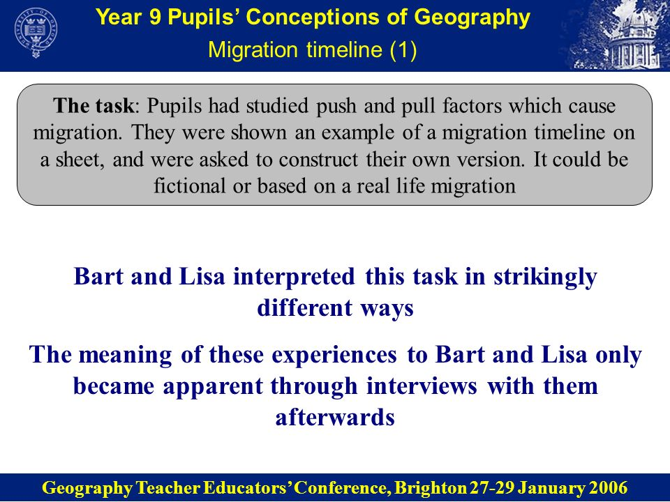 Year 9 Pupils Conceptions of Geography Migration timeline (1) The task: Pupils had studied push and pull factors which cause migration. They were show